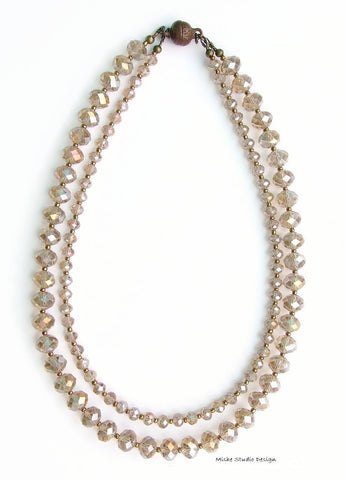 2 Strand Champagne Crystal Necklace - 18252N
