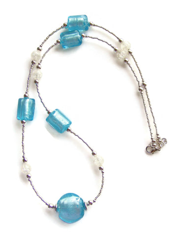 Long Murano Style Blue Necklace - 20113N