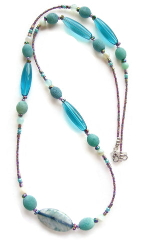 Teal and Aqua Long Necklace - 20112N