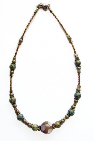 Turquoise, Bronze and Olive Necklace - 20115N