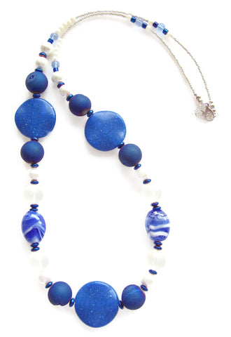 Long Blue and White Lampwork Necklace - 20134N