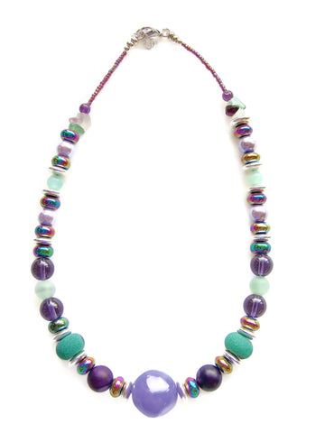 Purple and Green Statement Necklace - 20129N