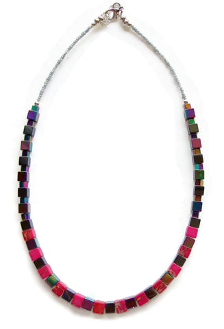 Hematite and Pink Regalite Necklace - 20108N