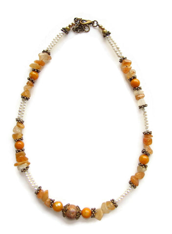 Gold and White Gemstone Necklace - 20139N