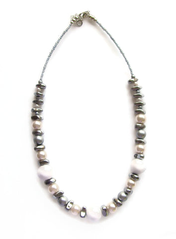 Ceramic, Hematite and Ivory Glass Pearl Necklace - 20128N