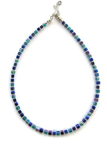 Teal and Blue Crystal and Hematite Cubes Necklace - 19222N