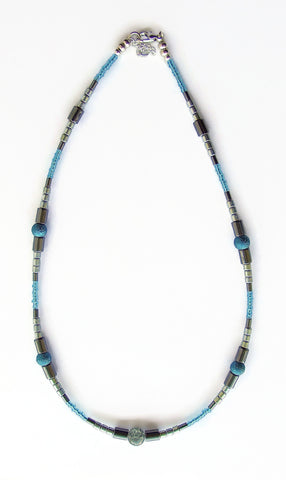 Textured Pearls and Hematite Necklace - 20118N