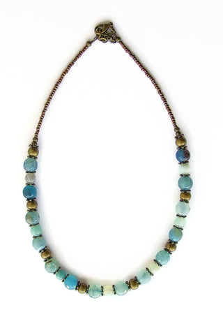 Turquoise and Bronze Necklace - 20104N