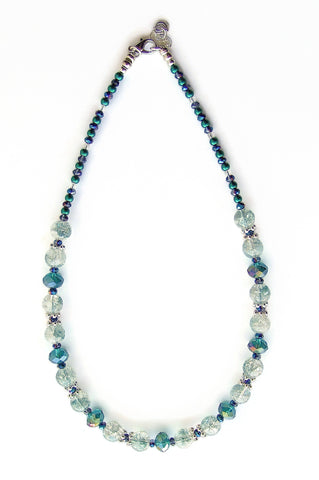 Green Crystal and Crackle Glass Necklace - 20105N