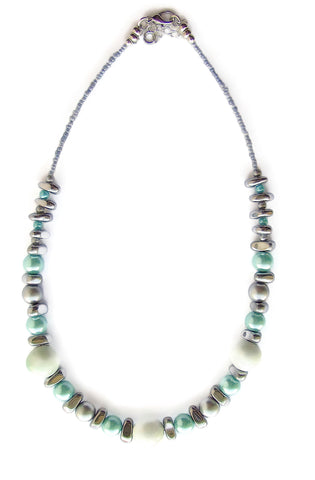 Ceramic, Hematite and Turquoise Glass Pearl Necklace - 20126N