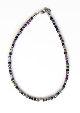 Crystal and Hematite Cubes Necklace - 20123N