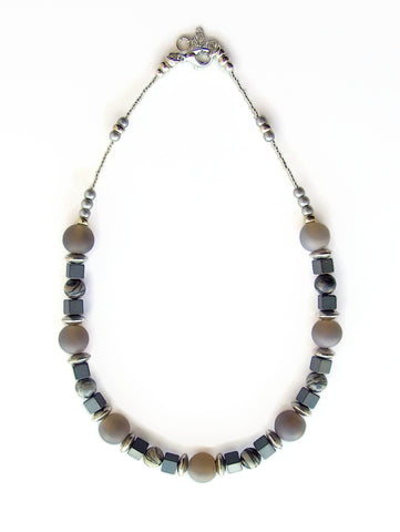 Grey Gemstone Necklace - 19215N