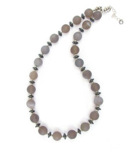 Smoky Grey Agate Necklace - 18215N