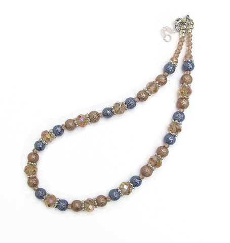 Crystal and Textured Glass Pearl Necklace - 19228N