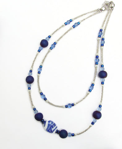 Two-strand Blue Lampwork, Quartz and Hematitie Necklace - 20135N