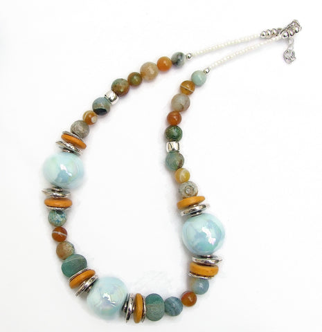 Ceramic and Agate Blue and Gold Necklace - 20142N