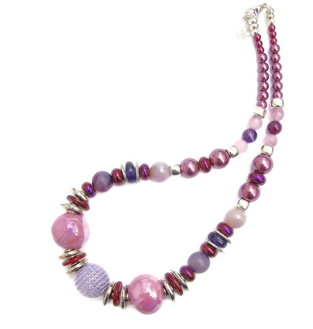 Pink and Lilac Ceramic and Gemstone Necklace - 20138N