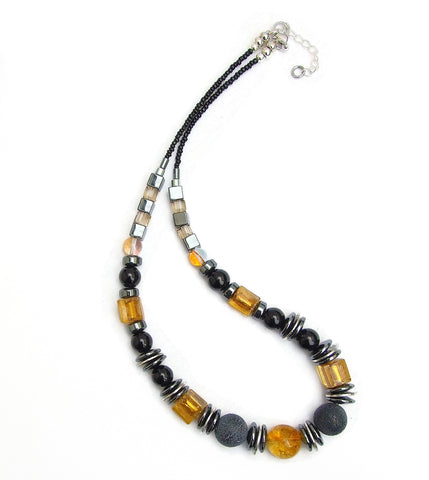 Black/Gold Murano style Glass and Agate Necklace - 20140N
