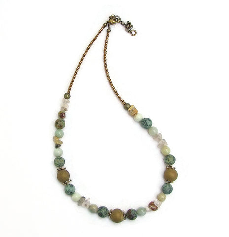 Old Gold, Turquoise and Aqua Gemstone Necklace - 20117N