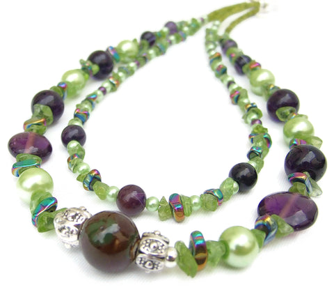 2 Strand Green and Purple Gemstone and Glass Pearl Necklace - 19021N