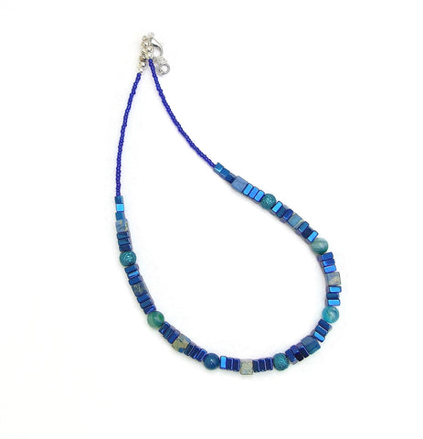 Blue Hematite and Gemstone Necklace - 20131N