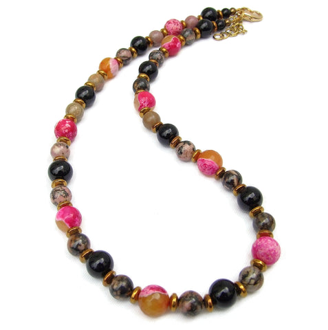 Pink, Orange and Gold Gemstone Necklace - 20137N