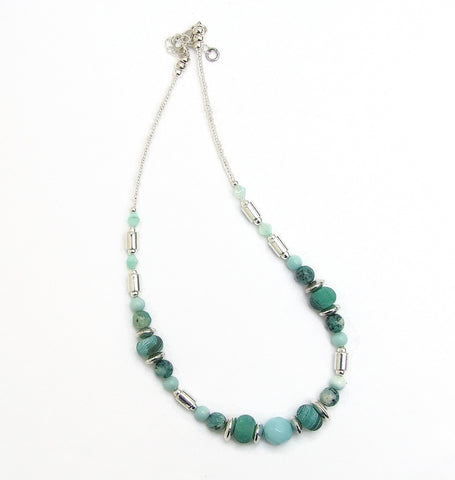 Silver,Green and Turquoise Gemstone Necklace - 20102N