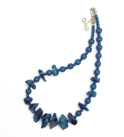 Statement Necklace in Blue Rock Crystal - 19013N