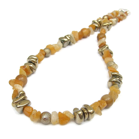 Yellow Jade and Gold Hematite Necklace - 19226N