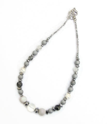 Silver and White Gemstone  Necklace - 20143N