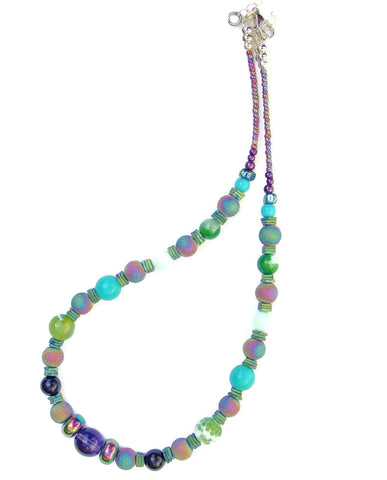 Rainbow Coloured Gemstone Necklace - 20101N