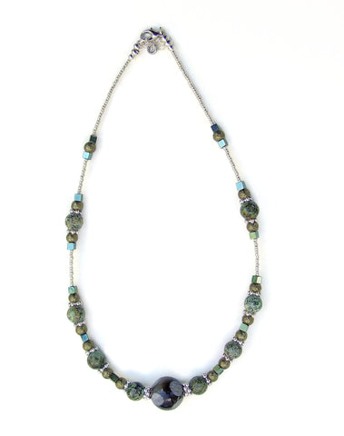 Turquoise, Olive and Silver Necklace - 20116N