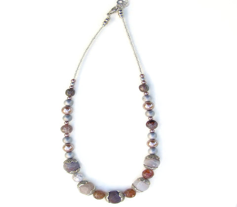 Gemstone Necklace in Neutral Colours - 20145N