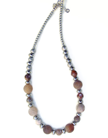 Gemstone Necklace in Neutral Colours - 20144N
