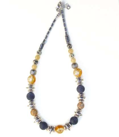 Gold and Grey Gemstone Necklace - 20141N