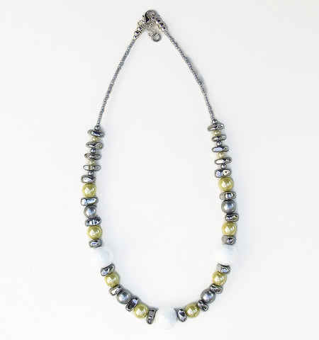 Ceramic, Hematite and Lemon Yellow Glass Pearl Necklace - 20127N