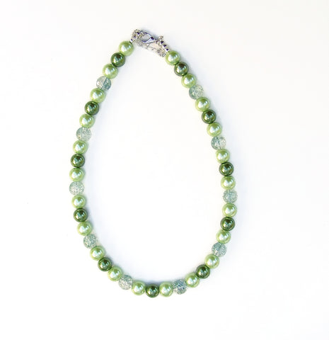 Lime Green and Olive Green Necklace - 20110N
