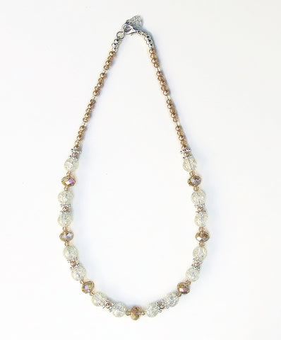 Champagne Crystal and Crackle Glass Necklace - 20125N