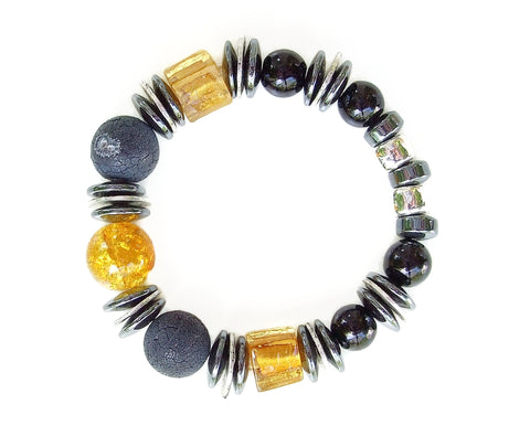 Grey/Black and Gold Gemstone Bracelet - 20140BR