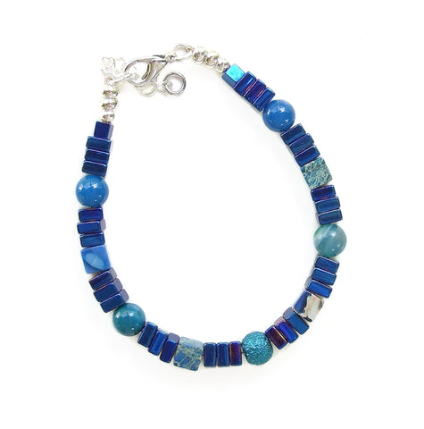 Blue/ green Gemstone Bracelet - 20131BR