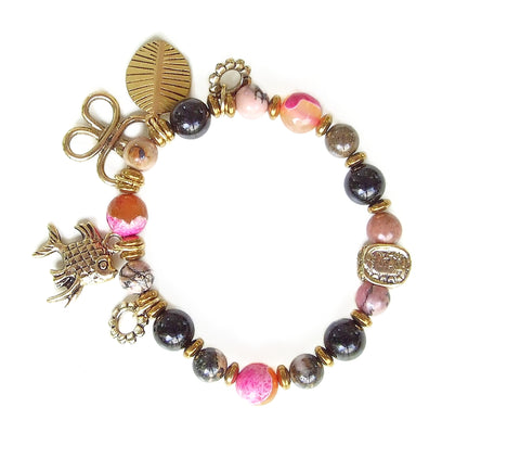Pink, Orange and Black Gemstone Charm Bracelet - 20137BR