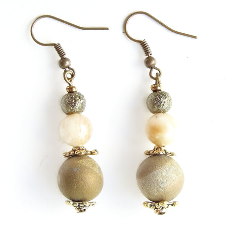 Old Gold and Olive Green Gemstone Earring - 20117ER