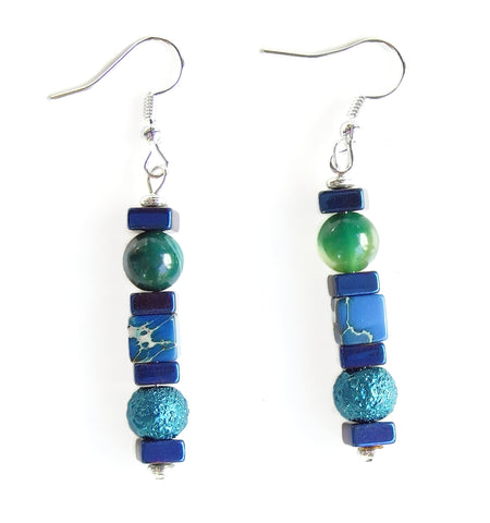 Blue, Green Gemstone Earring - 20131ER