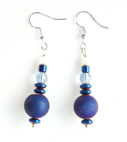 Blue Druzy Quartz Gemstone Earring - 20134ER