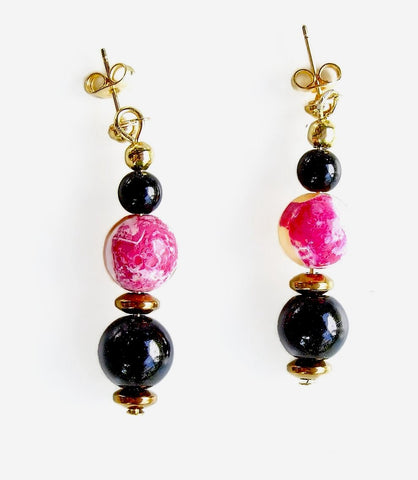 Pink Orange and Black Gemstone Earring - 20137ER