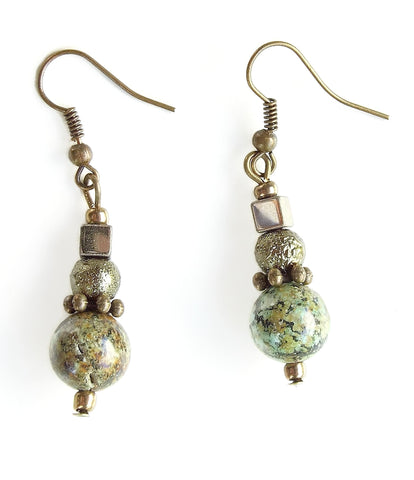 Turquoise, Bronze and Olive Green Gemstone Earring - 20115ER