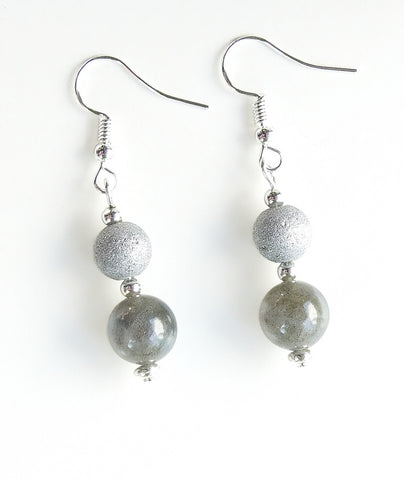 Silver and Grey Gemstone Earrings - 20143ER