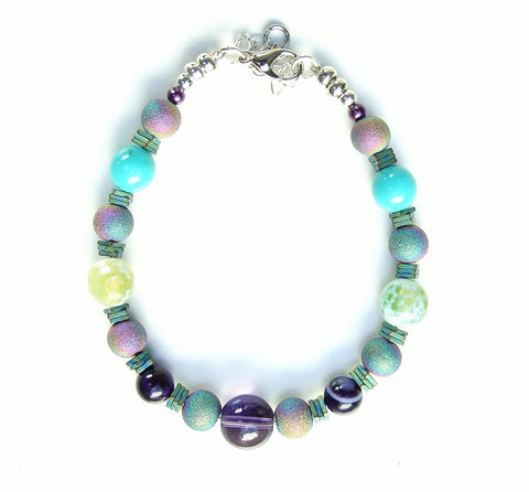 Rainbow, Green and Turquoise Gemstone Bracelet - 20101BR