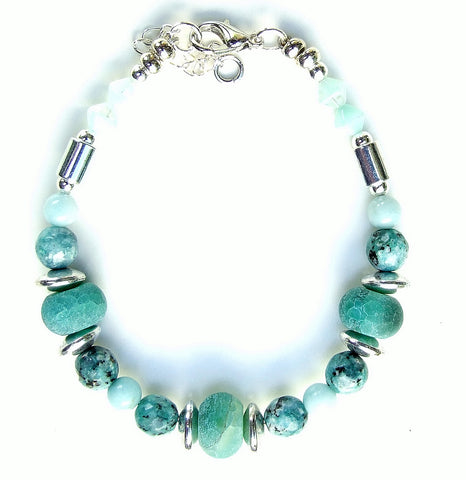 Green and Silver Gemstone Bracelet - 20102BR