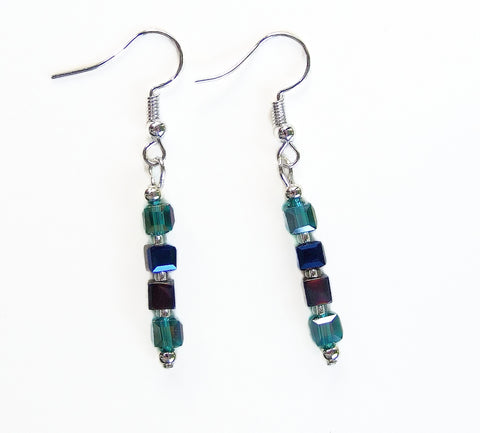 Teal and Blue Crystal Cube Earring - 19222ER